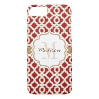 Rouge décoré d'un monogramme et or Quatrefoil Coque iPhone 7