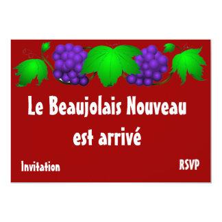 Rouge d'invitation de nouveau Beaujolais Carton D'invitation 12,7 Cm X 17,78 Cm