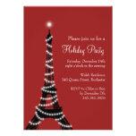 Rouge d'invitation de Tour Eiffel de vacances