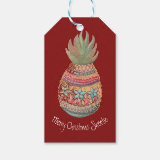 Rouge doux d'étiquette de cadeau d'ananas étiquettes-cadeau