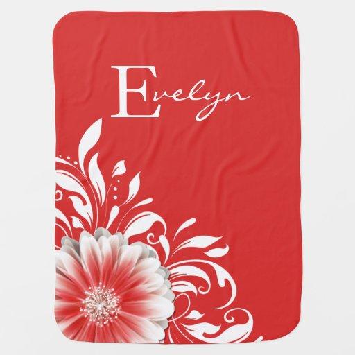 Rouge doux du monogramme | de rouleau de couvertures pour bébé