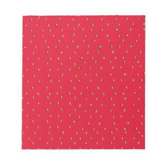 Rouge drôle d'arrière - plan de fraise bloc-note