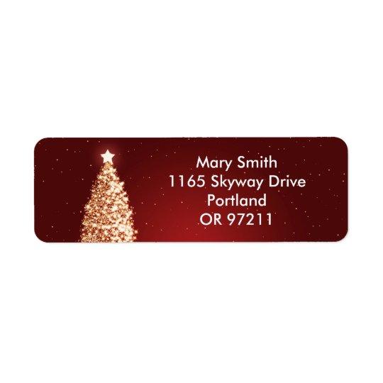 Rouge élégant d'arbre de Noël d'or Étiquettes D'adresse Retour