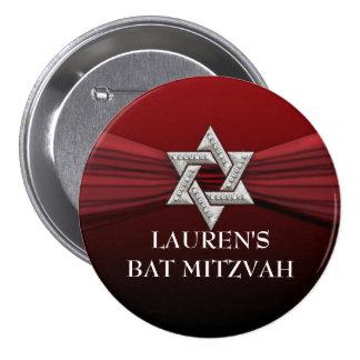 Rouge élégant d'étoile de bat mitzvah sur toute badge rond 7,6 cm