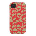 Rouge élégant et cadeaux de motif de feuille de Br Étui iPhone 4/4S