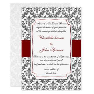 rouge élégant, invitation de mariage damassé