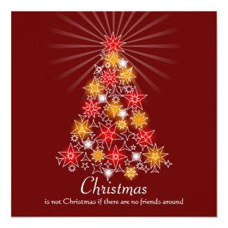 Rouge et arbre de Noël d'étoile d'or Carton D'invitation 13,33 Cm