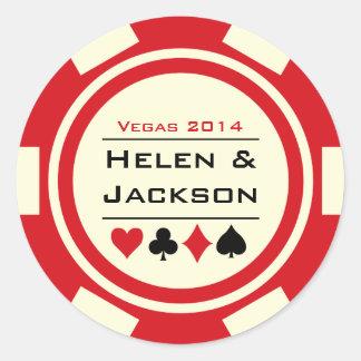 Rouge et blanc de jeton de poker autocollants ronds