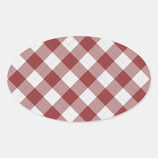 rouge et blanc de motif de contrôleurs de guingan sticker ovale