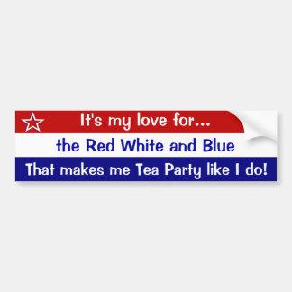 Rouge et blanc et bleu autocollant de voiture