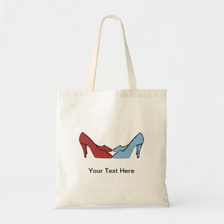 Rouge et bleu chausse votre texte ici mettent en sac