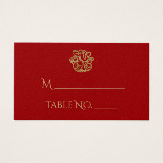 Rouge et cartes indiennes d'endroit de mariage de