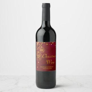 Rouge et étiquette de vin de Noël d'or