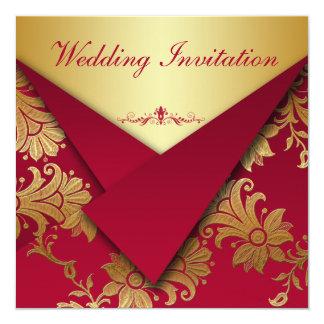 Rouge et faire-part de mariage floral d'or