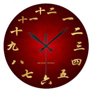 Rouge et horloge chinoise de calligraphie