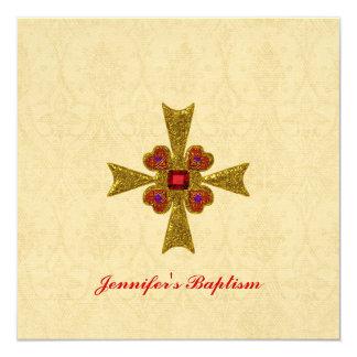 Rouge et invitation de baptême de croix de pierre