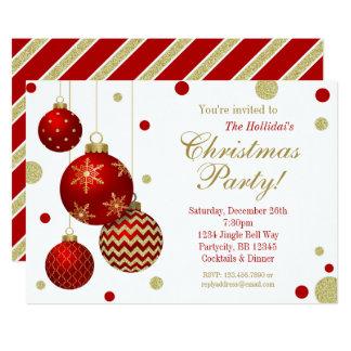Rouge et invitation de fête de Noël de babioles