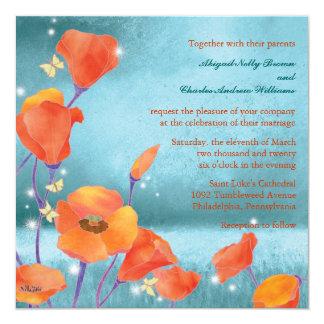 Rouge et mariage floral formel rêvant turquoise de faire-parts