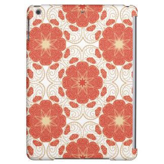 Rouge et motif floral de dentelle d'or