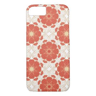 Rouge et motif floral de dentelle d'or coque iPhone 7