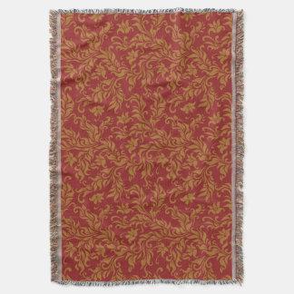 Rouge et motif floral d'or couvre pied de lit