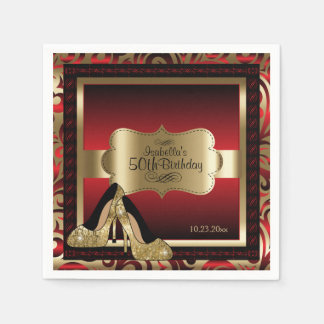 Rouge et or métalliques - cinquantième texte de serviettes jetables