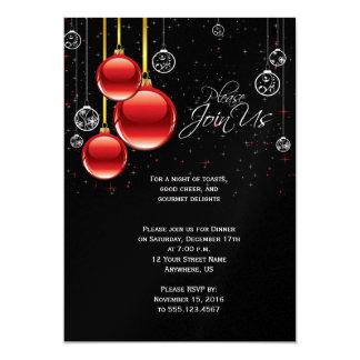 Rouge et ornements de Noël d'or sur la partie Carton D'invitation 12,7 Cm X 17,78 Cm