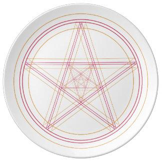 Rouge et plat d'étoile d'or assiette en porcelaine