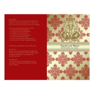 Rouge et programme indou de mariage de damassé prospectus 21,6 cm x 24,94 cm