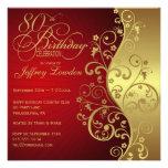 Rouge et quatre-vingtième invitation de fête d'ann