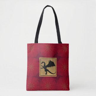 Rouge et sac fourre-tout magique à dragon d'or