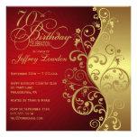 Rouge et soixante-dixième invitation de fête d'ann
