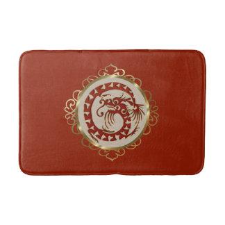 Rouge et tapis de bain de médaillon de dragon d'or