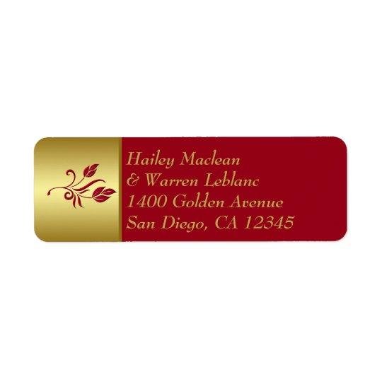 Rouge, étiquette de adresse de retour floral d'or