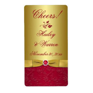 Rouge, étiquette IMPRIMÉ floral de mariage de