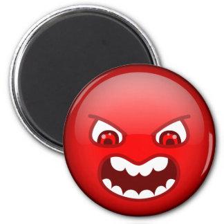 Rouge fâché magnet rond 8 cm