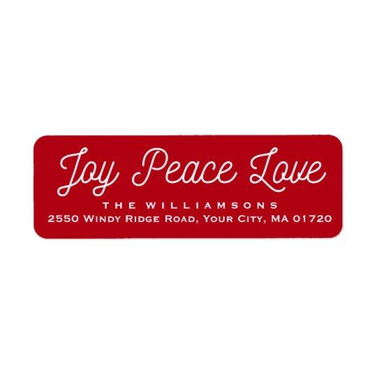 Rouge fait sur commande d'amour de paix de joie de étiquettes d'adresse retour