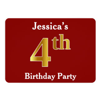 Rouge, fête d'anniversaire d'or de Faux 4ème + Nom Carton D'invitation 12,7 Cm X 17,78 Cm
