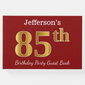 Rouge, fête d'anniversaire d'or de Faux 85th + Nom Livre D'or