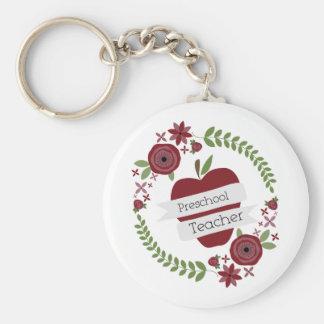 Rouge floral Apple de guirlande de professeur prés Porte-clé Rond