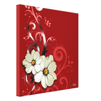 Rouge floral fleuri du Flourish | Toiles Tendues