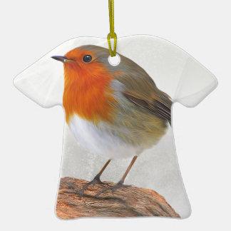 Rouge-gorge dodu ornement t-shirt en céramique