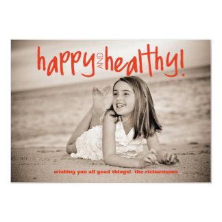 Rouge heureux et sain avec la photo arrière carton d'invitation  12,7 cm x 17,78 cm