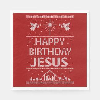 Rouge laid de Jésus de joyeux anniversaire de Serviette Jetable
