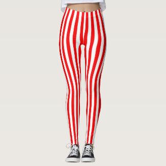 Rouge lumineux barré leggings