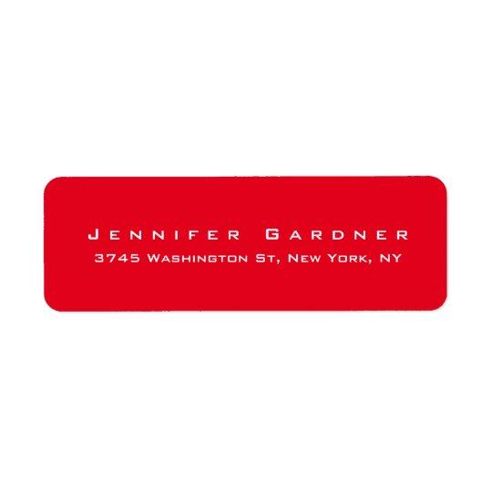 Rouge lumineux élégant mignon élégant moderne étiquette d'adresse retour