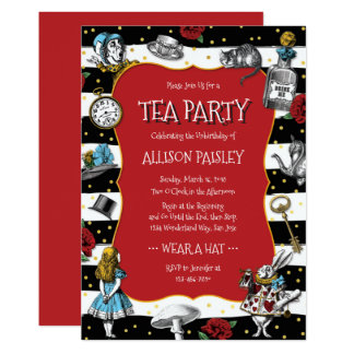Rouge lunatique de thé du pays des merveilles carton d'invitation  12,7 cm x 17,78 cm