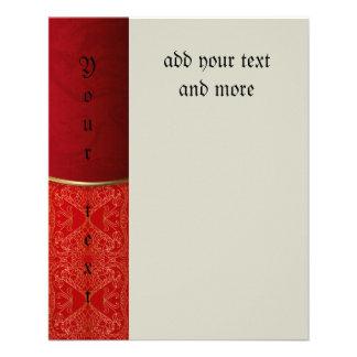 Rouge métallique, or, chic, élégant, beau, modèle, prospectus 11,4 cm x 14,2 cm