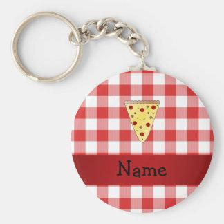 Rouge mignon nommé personnalisé de pizza checkered porte-clé rond