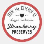 Rouge moderne de la cuisine de l'étiquette adhésif rond